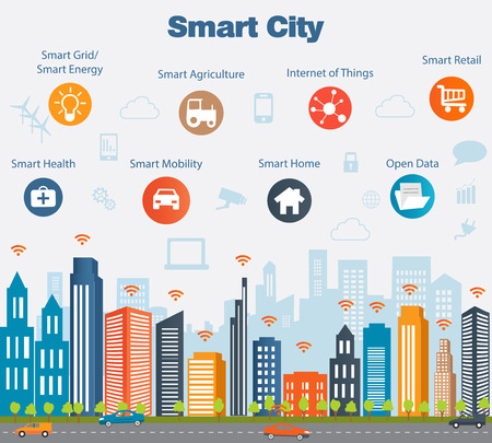 Smart city concept with different icon and elements. Modern city design with  future technology for living. Illustration of innovations and Internet of things.Internet of thingsSmart city Ilustrace