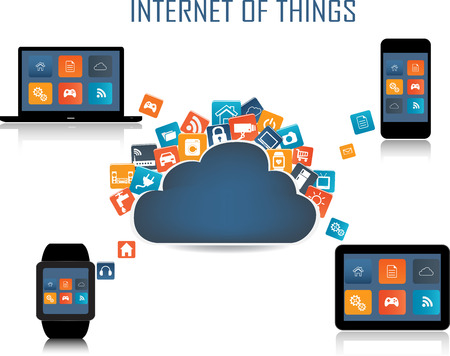 internet phone: Smart phone, Tablet, Laptop, Smartwatch and  Internet of things concept. Smart Home Technology Internet networking concept. Internet of things cloud with apps. Cloud Apps Illustration