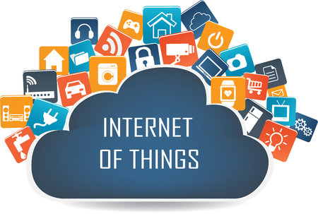 internet concept: Internet of things concept and Cloud computing technology Smart Home Technology Internet networking concept. Internet of things cloud with apps.Cloud computing technology device.Cloud Apps