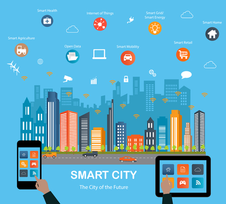 objects: Smart city concept with different icon and elements. Modern city design with  future technology for living. Illustration of innovations and Internet of things.Internet of thingsSmart city Illustration