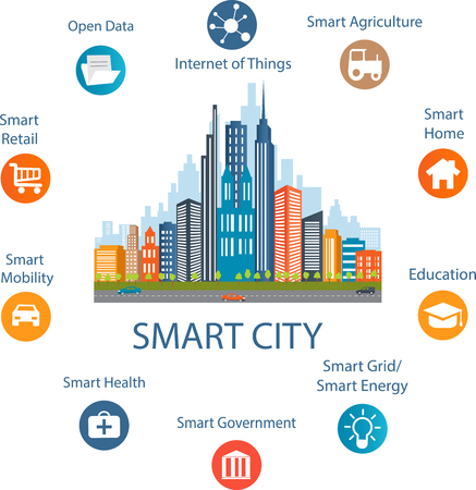 future business: Smart city concept with different icon and elements. Modern city design with  future technology for living. Illustration of innovations and Internet of things.Internet of thingsSmart city Illustration