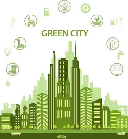 grün: Grüne Stadt-Konzept mit verschiedenen Symbolen und Öko-Symbole. Moderne Stadt-Design mit Zukunftstechnologie für das Leben. Grüne Stadt Infografik Umwelt, Ökologie Infografik Elemente Illustration
