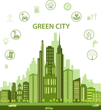 Green city concept with different icons and eco symbols. Modern city design with future technology for living. Green city infographic Environment, ecology infographic elements Illustration