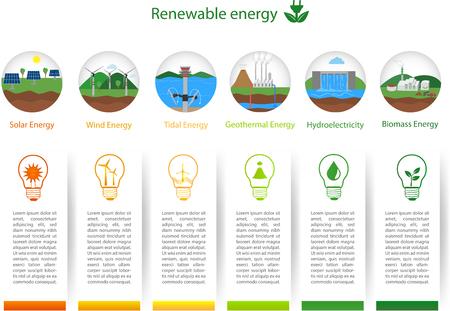 Renewable energy types. Power plant icons set. Renewable alternative solar, wind, hydro, biofuel, geothermal, tidal  energy . Useful for layout, banner, web design, statistic, brochure template, infographics and presentations. Green energyRenewable energ Illustration