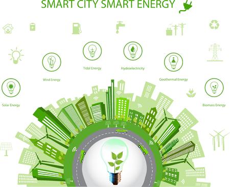 Concepto ecológico de la ciudad concept.Smart ciudad y la energía inteligente con diferentes iconos del medio ambiente. diseño de la ciudad verde mundo verde, planeta verde. concepto de ciudad inteligente / energía inteligente Ilustración de vector