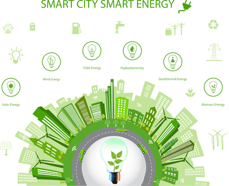 Ecological city concept.Smart city concept and Smart energy with different environmental icons. Green city design Green world, green planet. Smart city concept Smart energy Ilustração