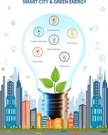 生態学的都市のコンセプト。スマートシティの概念、さまざまな環境アイコンでグリーン ・ エネルギー。緑豊かな街のデザイン。スマートシティの  イラスト・ベクター素材