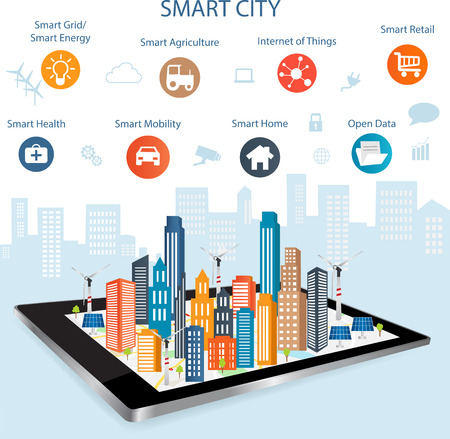Smart city on a digital touch screen tablet with different icon and elements and environmental care.Modern city design with  future technology for living. Controlling your home appliances with tablet.Smart city concept Vettoriali