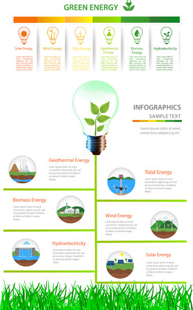 hydro power: Renewable energy types. Power plant icons set. Renewable alternative solar, wind, hydro, biofuel, geothermal, tidal  energy . Useful for layout, banner, web design, statistic, brochure template, infographics and presentations. Green energyRenewable energ Illustration