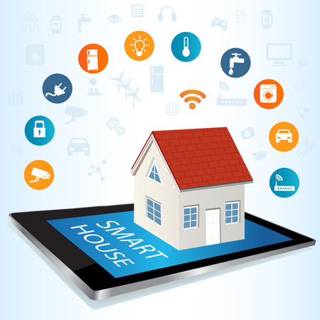 computer security: Modern digital tablet PC with Smart House Apps. Internet of things concept illustration.Controlling your home appliances with tablet Apps .Smart house technology system with centralized control of lighting, heating, ventilation and air conditioning, secur Illustration