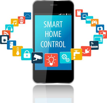 Smartphone con Smart House Aplicaciones. Internet de las cosas concepto illustration.Controlling sus electrodomésticos con sistema de tecnología de la casa Smartphone Aplicaciones .Smart con control centralizado