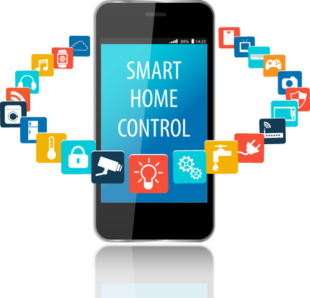 smartphone apps: Smartphone with Smart House Apps. Internet of things concept illustration.Controlling your home appliances with Smartphone Apps .Smart house technology system with centralized control Illustration