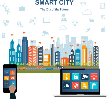 Smart city concept with different icon and elements. Modern city design with  future technology for living. Illustration of innovations and Internet of things.Internet of thingsSmart city Illustration