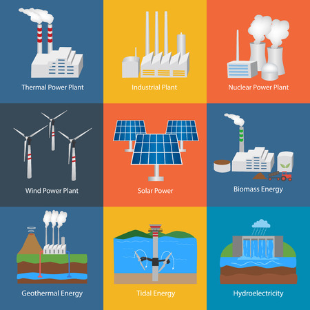 Illustration with different power plant icons:thermal, hydro, nuclear, diesel, solar, eco, wind, geothermal, tidal. Set of nine industrial buildings icons. Conception of making energy and pollution of the environment. Vettoriali