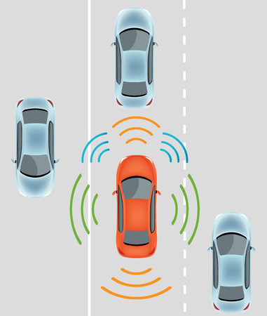 自動車用センサーを自走式レーダーおよび LIDAR 自律無人車の写真と車: カメラのデータの使用します。