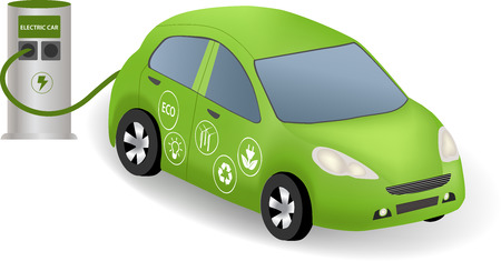 electric power station: Electric car charging at the charger station. Power supply for electric car. Electric car refuel with power. Eco car with  eco icon. Illustration