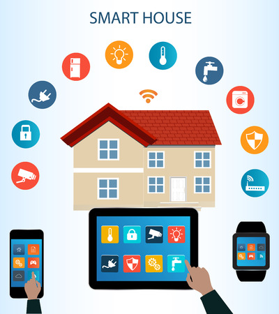 Smart phone, Tablet, Smartwatch and  Internet of things concept.Smart Home Technology Internet networking concept. Internet of things/Smart home automation. Internet of things Illustration