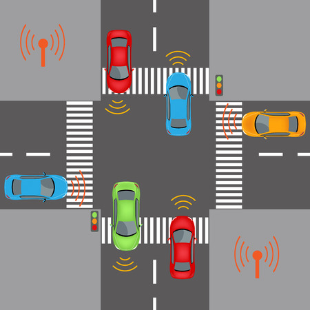sensors: Communication that connects cars to devices on the road, such as traffic lights, sensors, or Internet gateways. Wireless network of vehicle