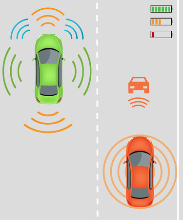 electric vehicles: Electric re-charging lane Wireless charging system for electric vehicles. Charge while in motion on smart highway. Smart car wireless charging  Electric vehicles on highway. Smart car Intelligent vehicle Illustration