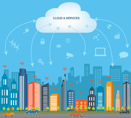 Internet of things concept and Cloud computing technology Smart City Technology Internet networking concept  with different icon and elements. Internet of things cloud with apps.Smart city design with  future technology for living