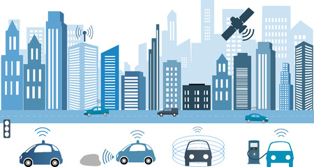 Traffic and wireless network, Intelligent Transport Systems. Autonomous Driverless Car.Automobile sensors use in self-driving cars Electric car charging at the charger station. Vettoriali