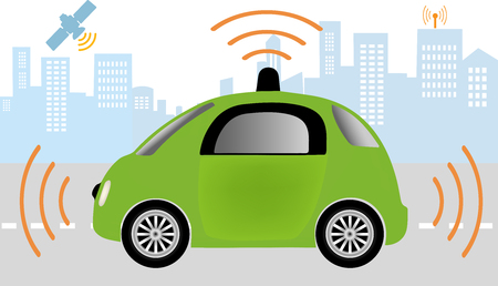 sensors: Intelligent controlled car, smart navigation.Automobile sensors use in self-driving cars .Autonomous self-driving driverless Car Illustration