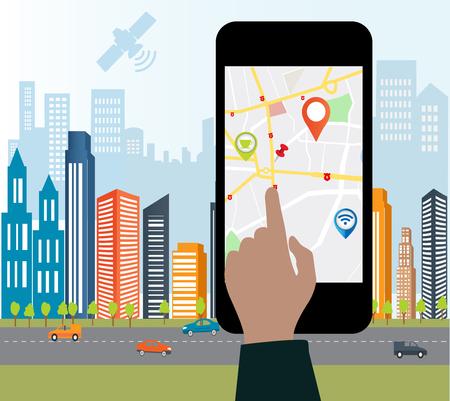 Teléfono inteligente aplicación de navegación y de navegación GPS concept.Smart-teléfono en la pantalla con el diseño de las carreteras de la ciudad sign.Smart