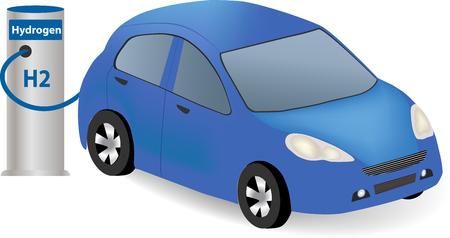 De combustible de hidrógeno de la célula de carga en la estación de coche de hidrógeno. repostaje de los vehículos en la estación de servicio de hidrógeno