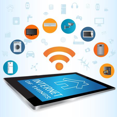 現代デジタル タブレット スマート家アプリと PC。物事のコンセプト イラストのインターネット。タブレットのアプリであなたの家電を制御します