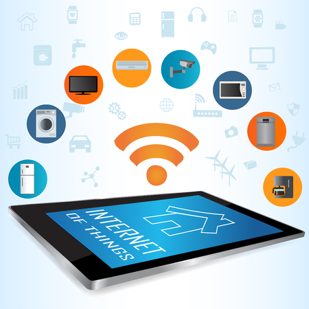 centralized: Modern digital tablet PC with Smart House Apps. Internet of things concept illustration.Controlling your home appliances with tablet Apps .Smart house technology system with centralized control of lighting, heating, ventilation and air conditioning, secur Illustration