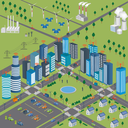 Smart Grid concept Industrial and smart grid devices in a connected network. Renewable Energy and Smart Grid TechnologySmart city design with future technology for living. Intelligent Transport Systems. Internet of things/Smart city