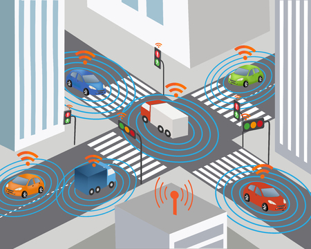Communication that connects cars to devices on the road, such as traffic lights, sensors, or Internet gateways. Wireless network of vehicle. Smart Car Ilustrace