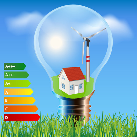 Environmental friendly energy.Energy saving concept Ecology house in light bulb.Think green concept 向量圖像