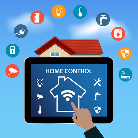 Modern digital Tablet PC with Smart House Apps. Internet of things concept .Controlling your home appliances with tablet Apps .Smart House technology system with centralized control.Internet of things Illustration