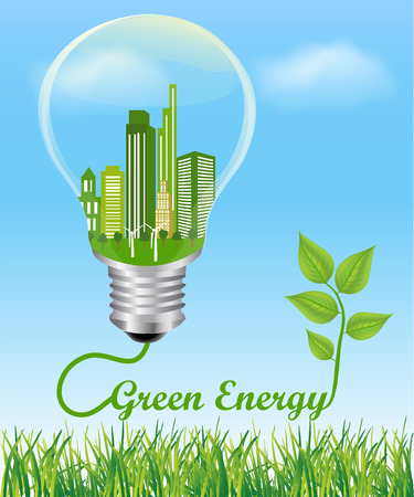 energy symbol: Green Energy Concept. City in electric light bulb connected to a plant, symbol of green energy Environmental friendly energy.Energy saving concept Think green concept