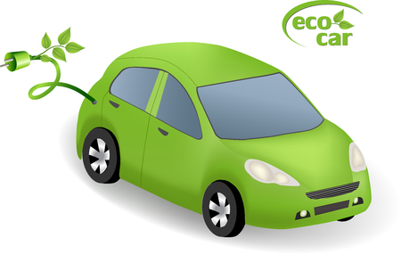 powerhouse: Eco Car Concept.Green car powered with alternative fuel.Environmental friendly energy. Eco car with eco icon logo.