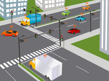 sensors: Communication that connects cars to devices on the road, such as traffic lights, sensors, or Internet gateways. Wireless network of vehicle. Smart Car, Traffic and wireless network, Intelligent Transport Systems Illustration