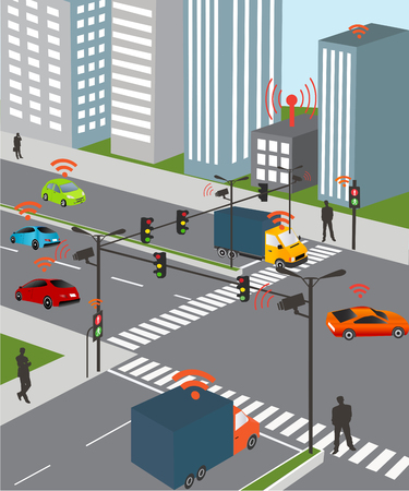 Communication that connects cars to devices on the road, such as traffic lights, sensors, or Internet gateways. Wireless network of vehicle. Smart Car, Traffic and wireless network, Intelligent Transport Systems Vettoriali