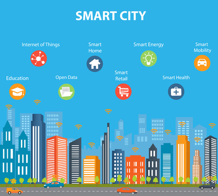 別のアイコンと要素スマートシティの概念。近代的な都市生活のための将来技術とデザイン。技術革新と物事のインターネットのイラスト。ものス  イラスト・ベクター素材