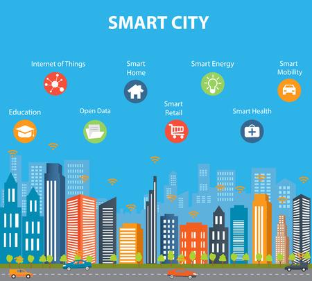 Slimme stad concept met ander pictogram en elementen. Moderne stad design met toekomstige technologie voor het leven. Illustratie van innovaties en internet van things.Internet dingen / Smart city