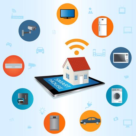 物事のコンセプトのインターネット。スマート ホーム技術インターネットのネットワー キングの概念。  イラスト・ベクター素材