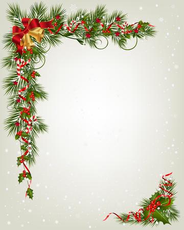ベリーとリボンのツリー ブランチ国境とクリスマスの背景。