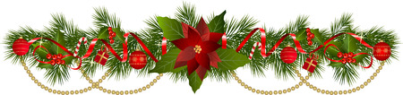クリスマスの花輪のモミの枝と装飾的な要素。ベリーとリボンとクリスマスの国境。