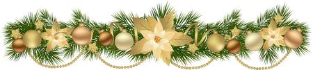 De slinger van Kerstmis met dennentakken en decoratieve elementen. Kerstmis grens met Poinsettia bloemen voor kerstversieringen Stock Illustratie