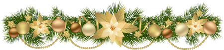 Christmas garland with fir branches and decorative elements. Christmas border with Poinsettia flowers for christmas decorations Illustration