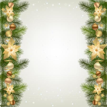 クリスマスの花輪のモミの枝と装飾的な要素。クリスマスにポインセチア花とクリスマスの国境  イラスト・ベクター素材