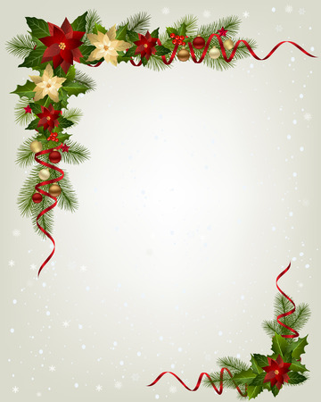 fizz: Christmas garland with fir branches and decorative elements. Christmas border with Poinsettia flowers for christmas decorations Illustration