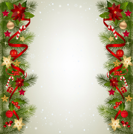 モミ枝国境ベリー、ポインセチアの花、リボン、クリスマスの装飾とクリスマスの背景。