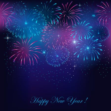 花火で新年の花火の背景  イラスト・ベクター素材