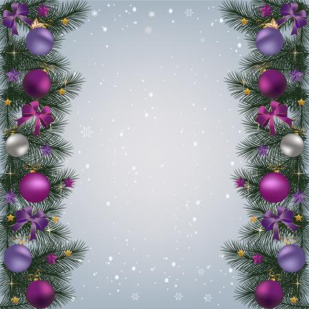 クリスマス ボール、リボン、クリスマスの装飾とモミ枝国境とクリスマスの背景。